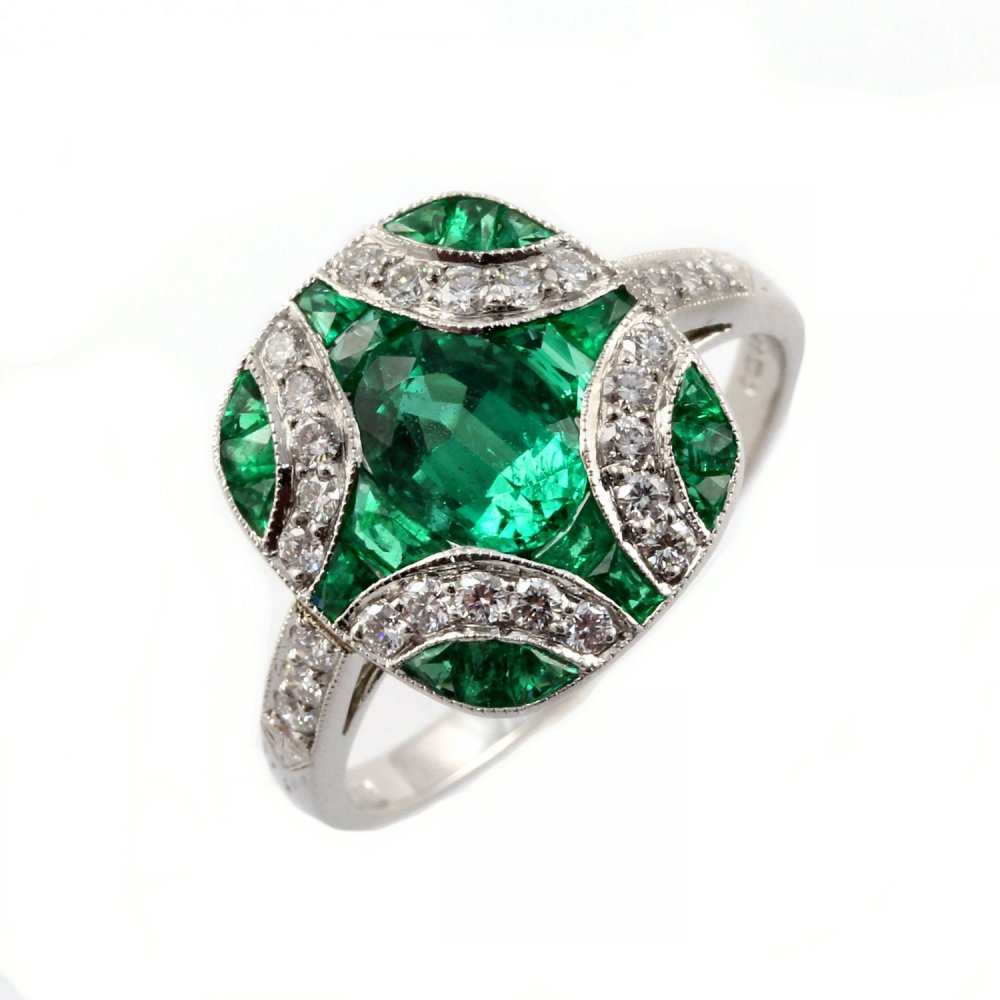 Emerald Diamond Jewellery: Platinum Emerald & Diamond Cross Design Ring.