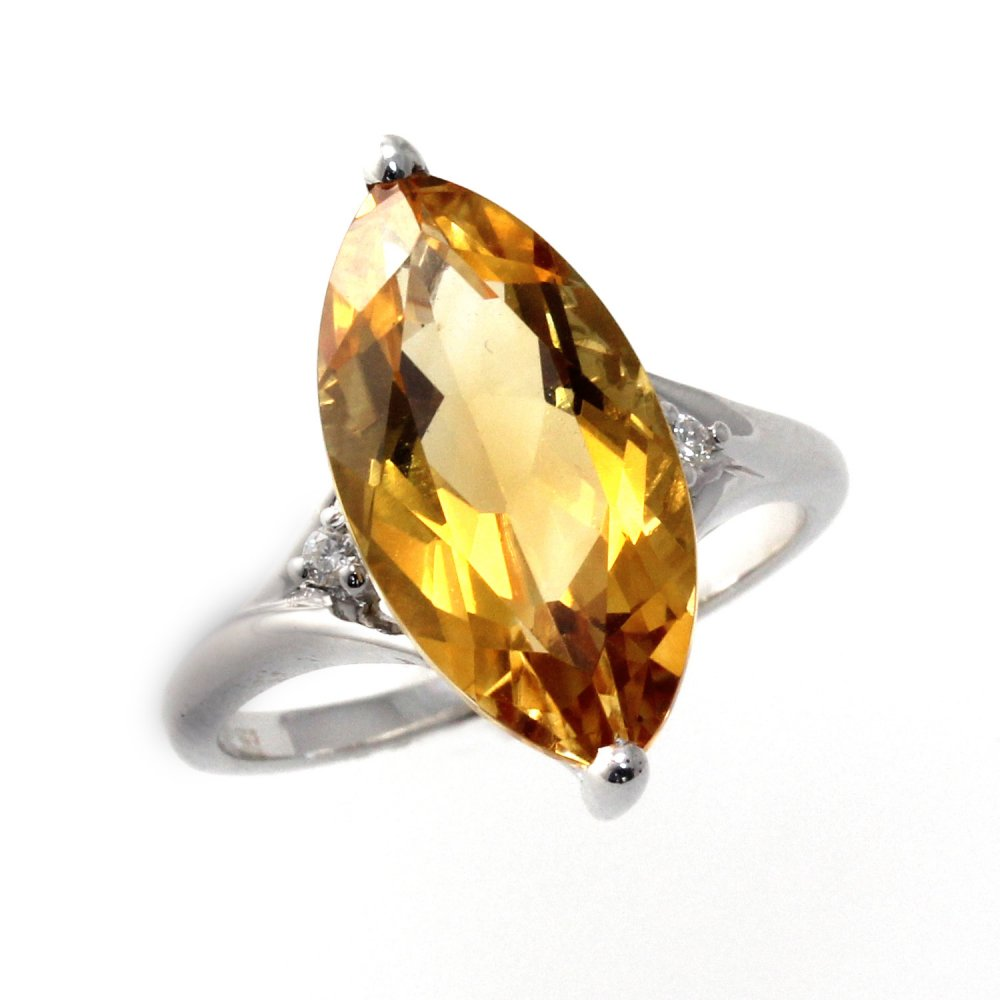 Sheldon Bloomfield 18ct White Gold Marquise Cut Citrine