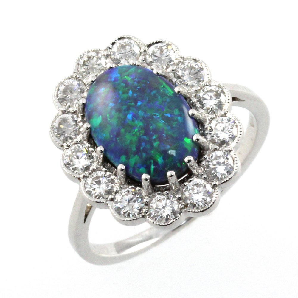 18ct white gold black opal & diamond cluster ring. - from ... Black Opal Rings