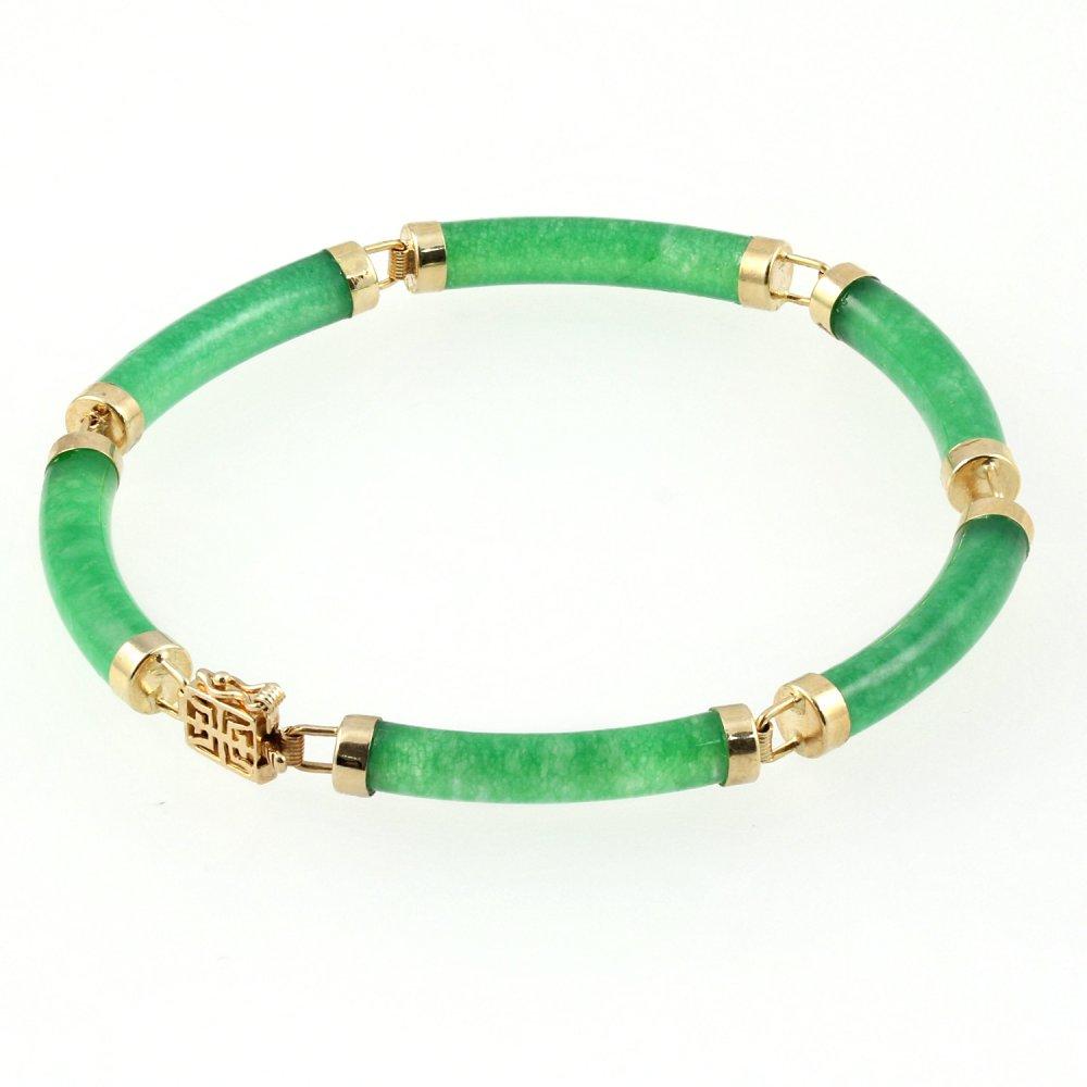 9ct yellow gold tubular jade bracelet