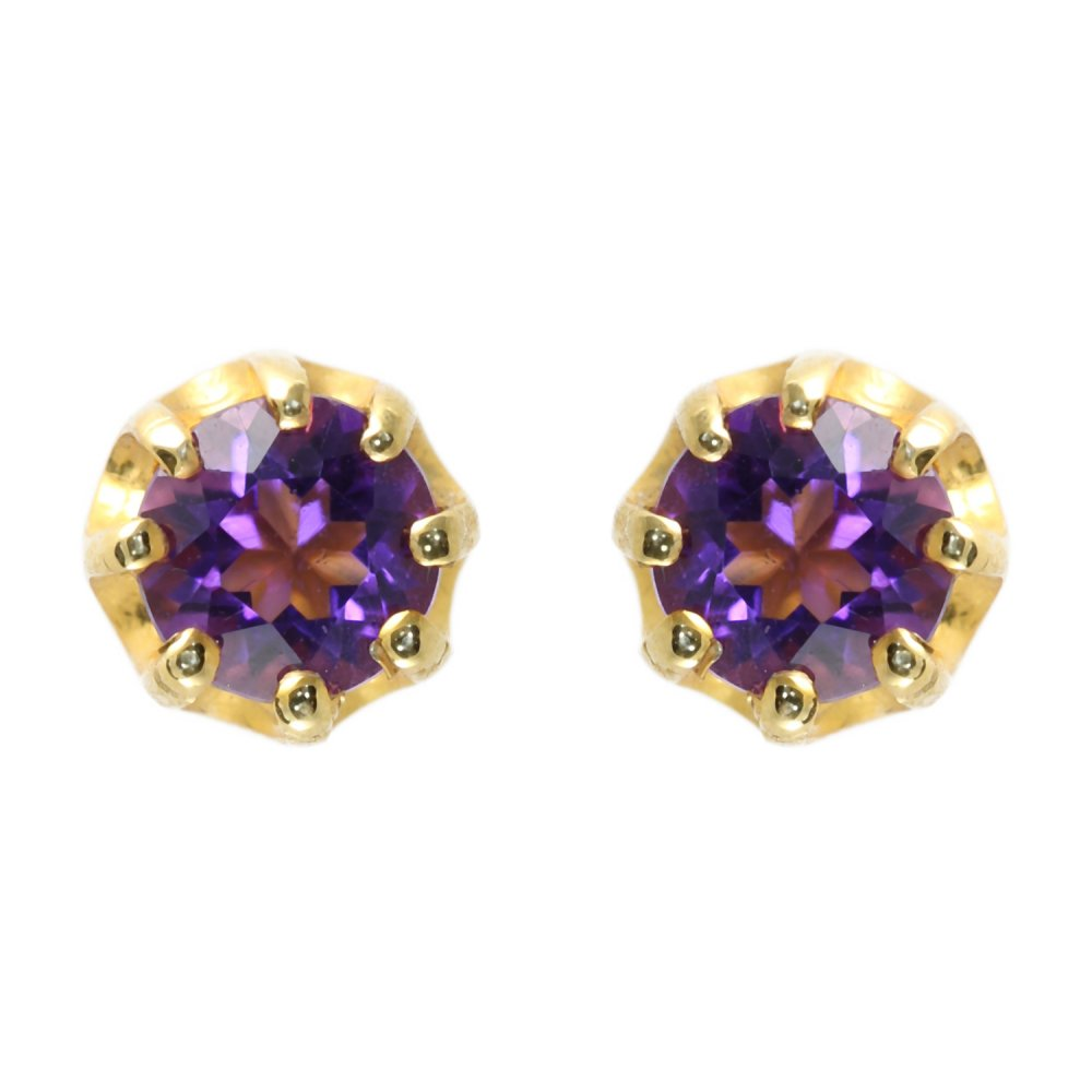 9ct yellow gold claw set amethyst stud earrings from mr