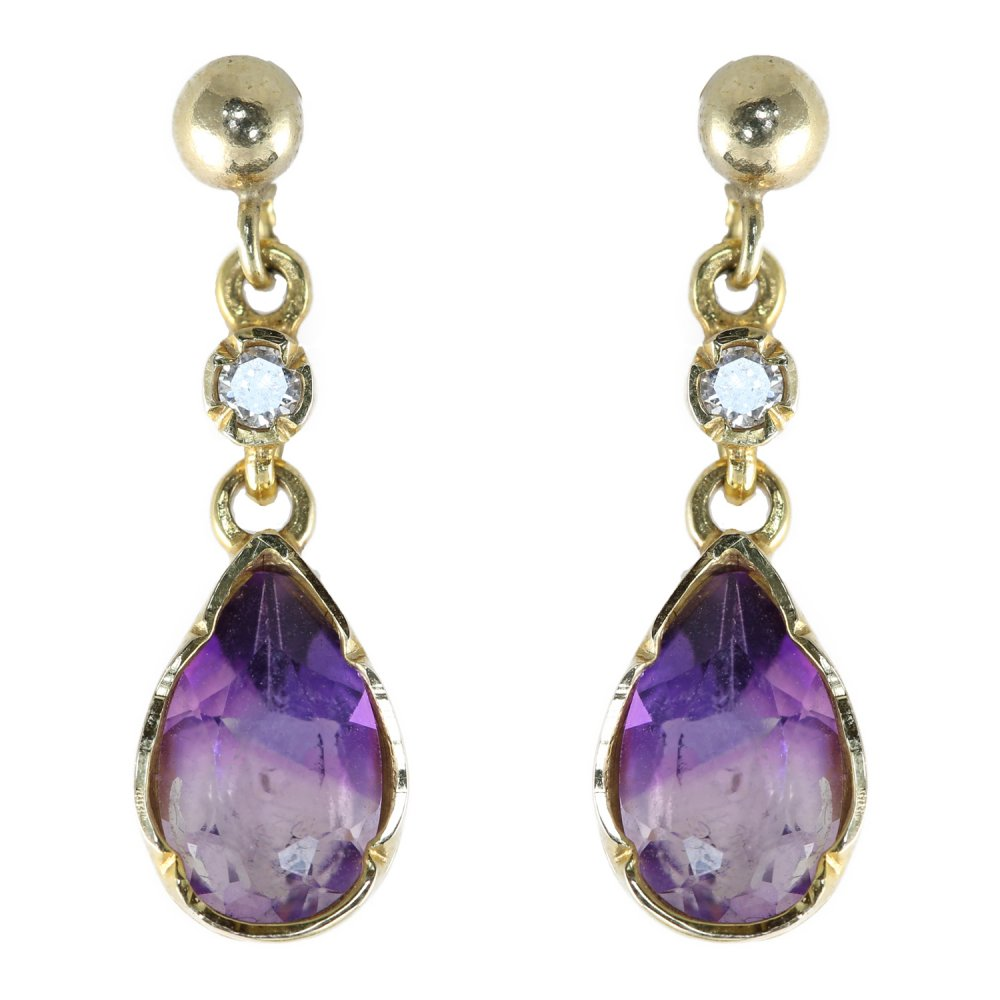 9ct yellow gold pear shape amethyst diamond drop. Black Bedroom Furniture Sets. Home Design Ideas