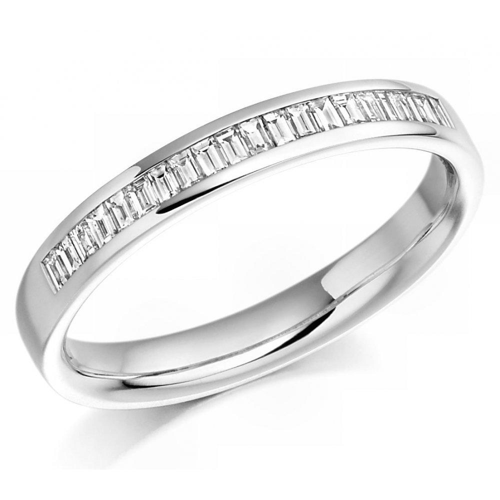 Half Eternity Emerald Cut Diamond Ring