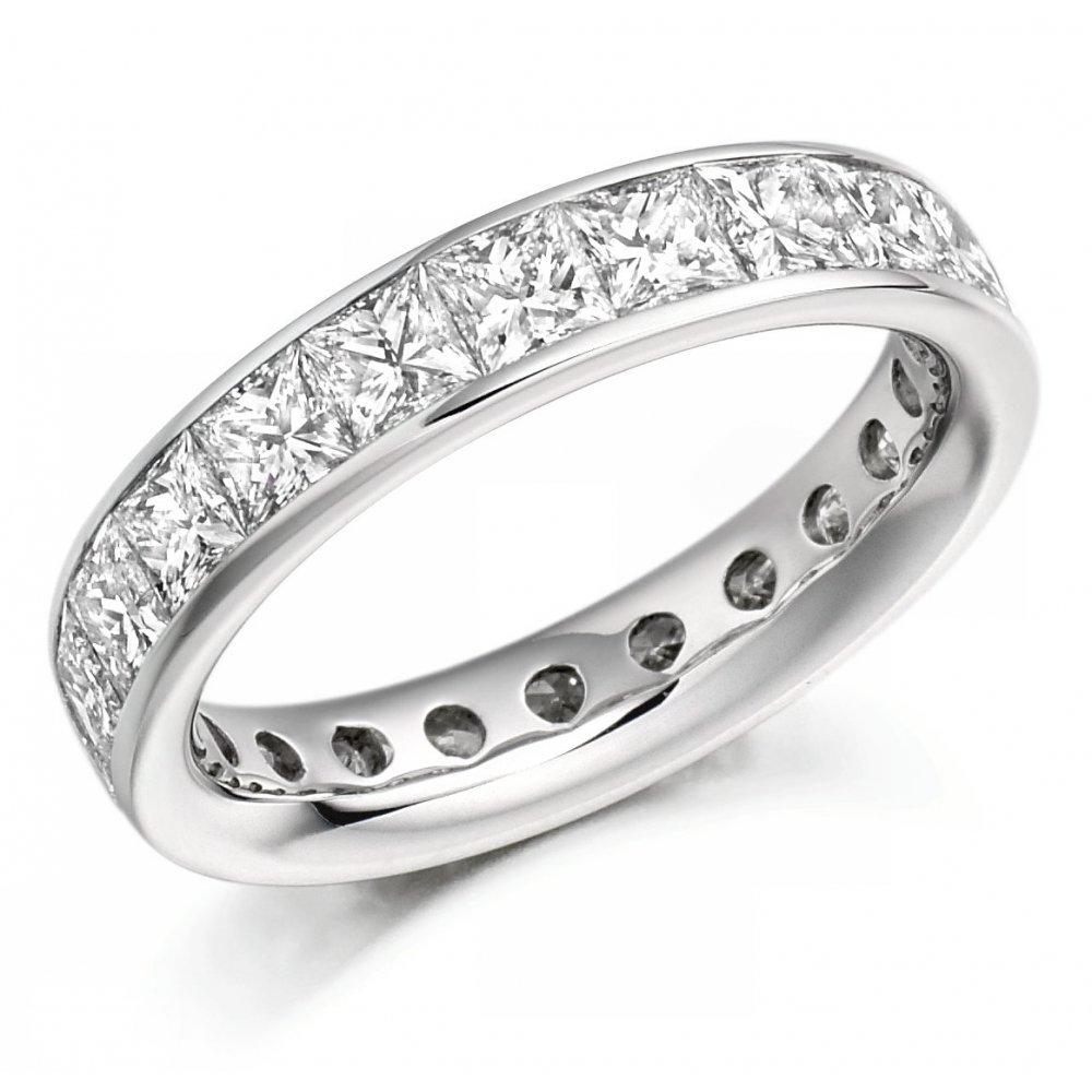 Diamond Eternity Platinum: Platinum 3.30ct Princess Cut Diamond Full Eternity Ring