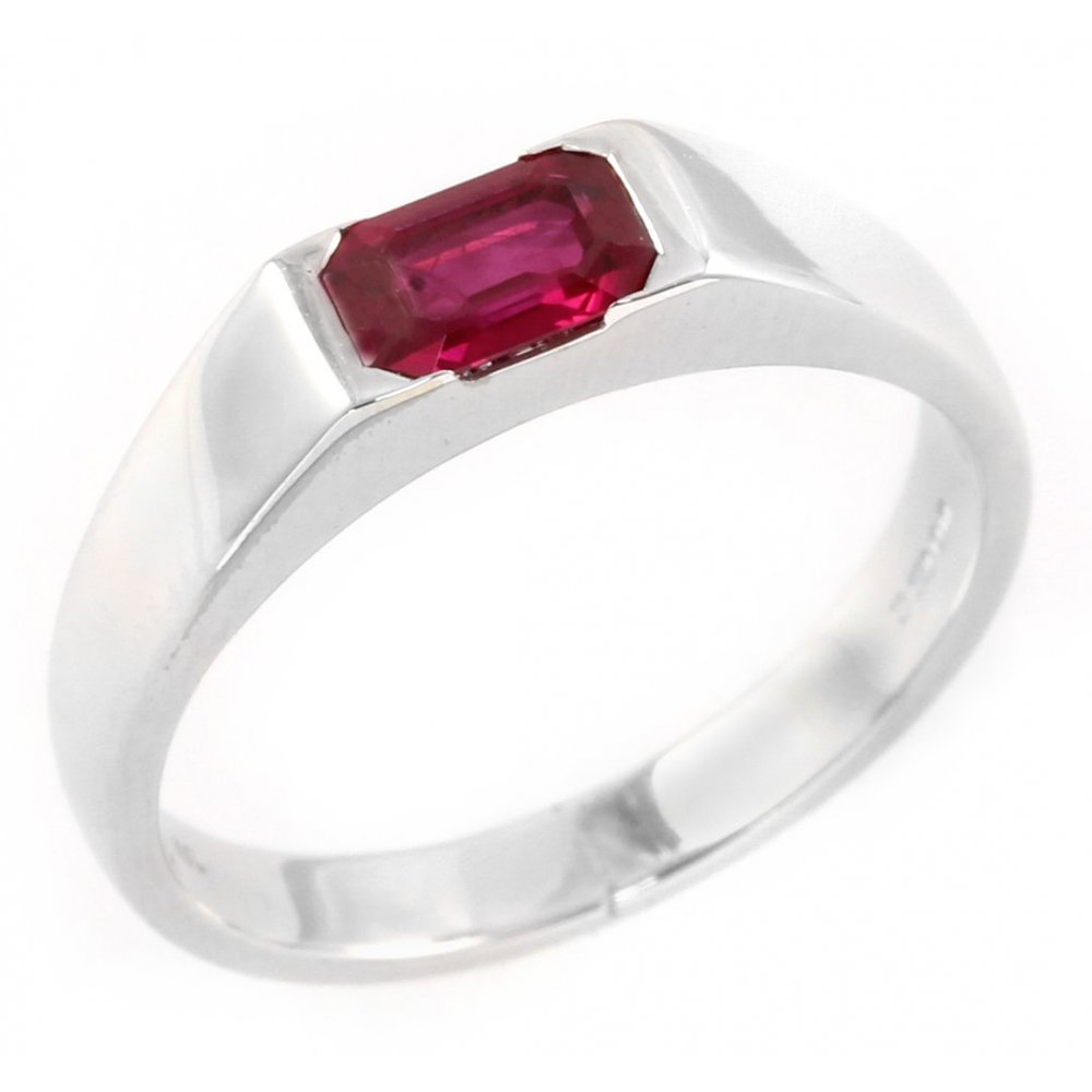 18ct White Gold Emerald Cut Ruby Single Stone Ring From