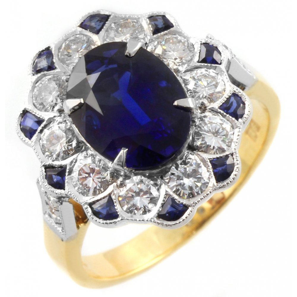 18ct yellow gold oval sapphire & diamond cluster ring ...