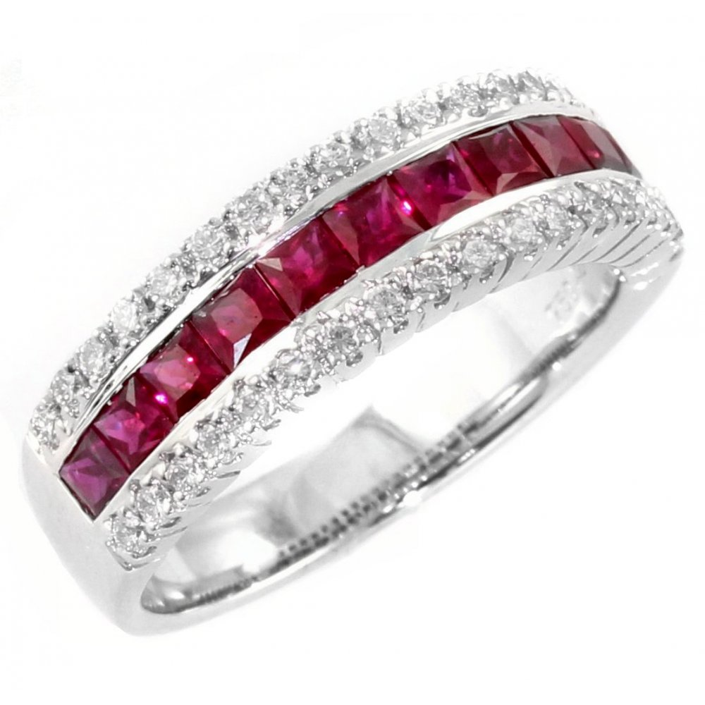 18ct white gold ruby diamond half eternity ring from. Black Bedroom Furniture Sets. Home Design Ideas