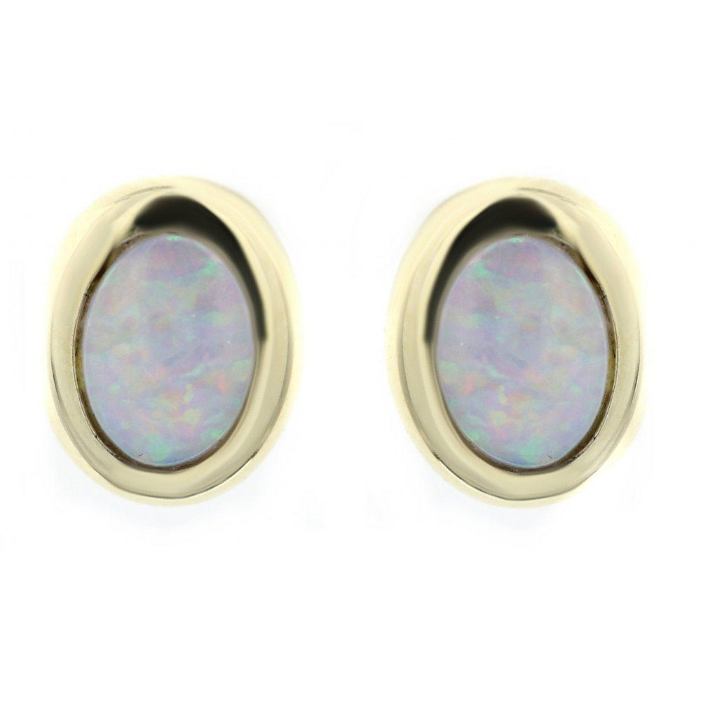 14ct yellow gold 0 99ct opal oval stud earrings