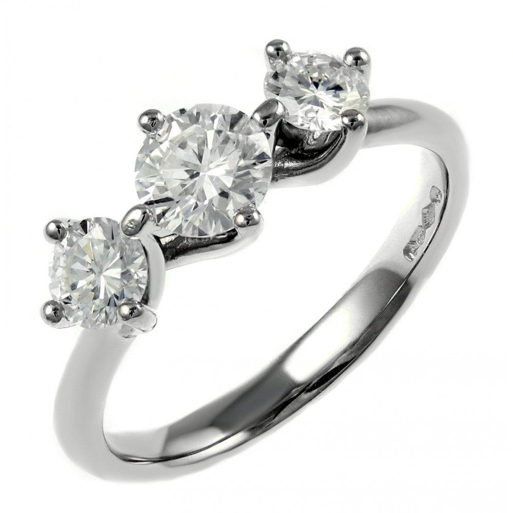 Stones Platinum: Platinum 0.96ct Diamond Three Stone Twist Ring.