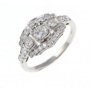 Platinum 0.78ct pave set art deco style diamond ring.