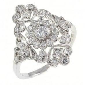 Platinum 0.62ct fine art deco style diamond ring.