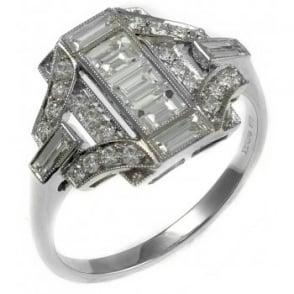 Platinum 0.87ct art deco style diamond ring.