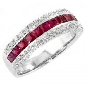 18ct white gold ruby & diamond half eternity ring.