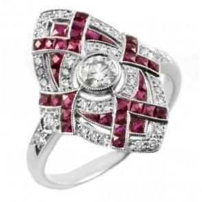 Platinum ruby & diamond art deco style ring.