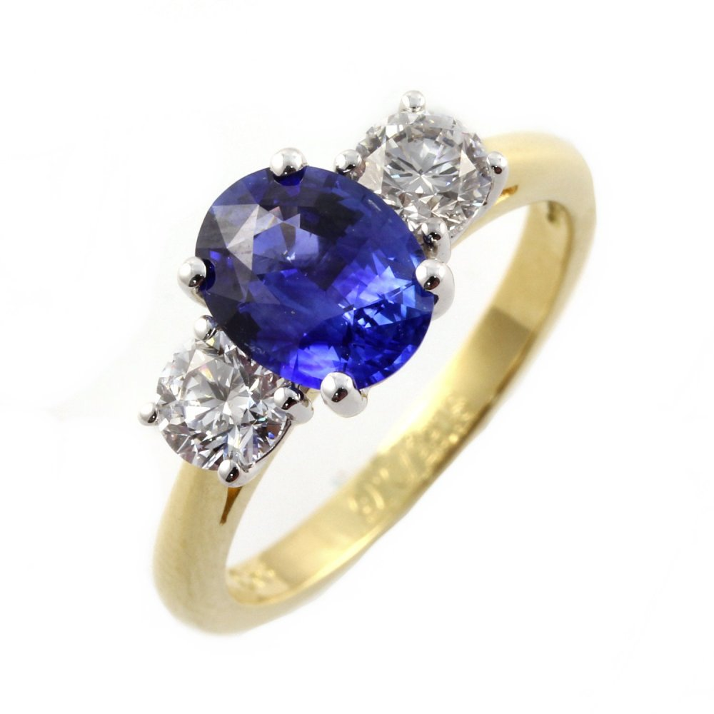 18ct yellow gold oval sapphire & diamond 3 stone ring ...