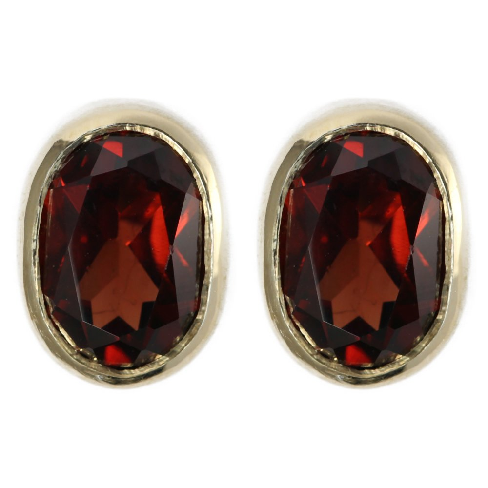 9ct yellow gold oval garnet rubover stud earrings from