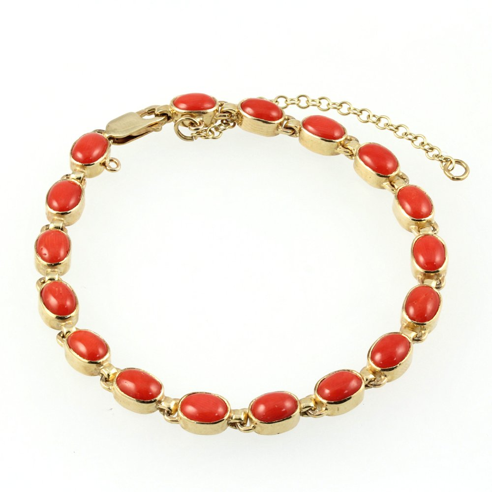 Forty Red Bangles: 9ct Yellow Gold Oval Red Coral Bracelet