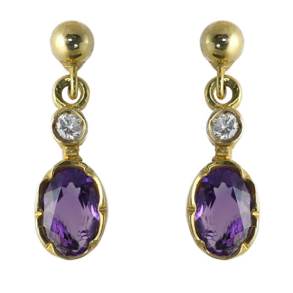 9ct yellow gold traditional amethyst diamond drop. Black Bedroom Furniture Sets. Home Design Ideas