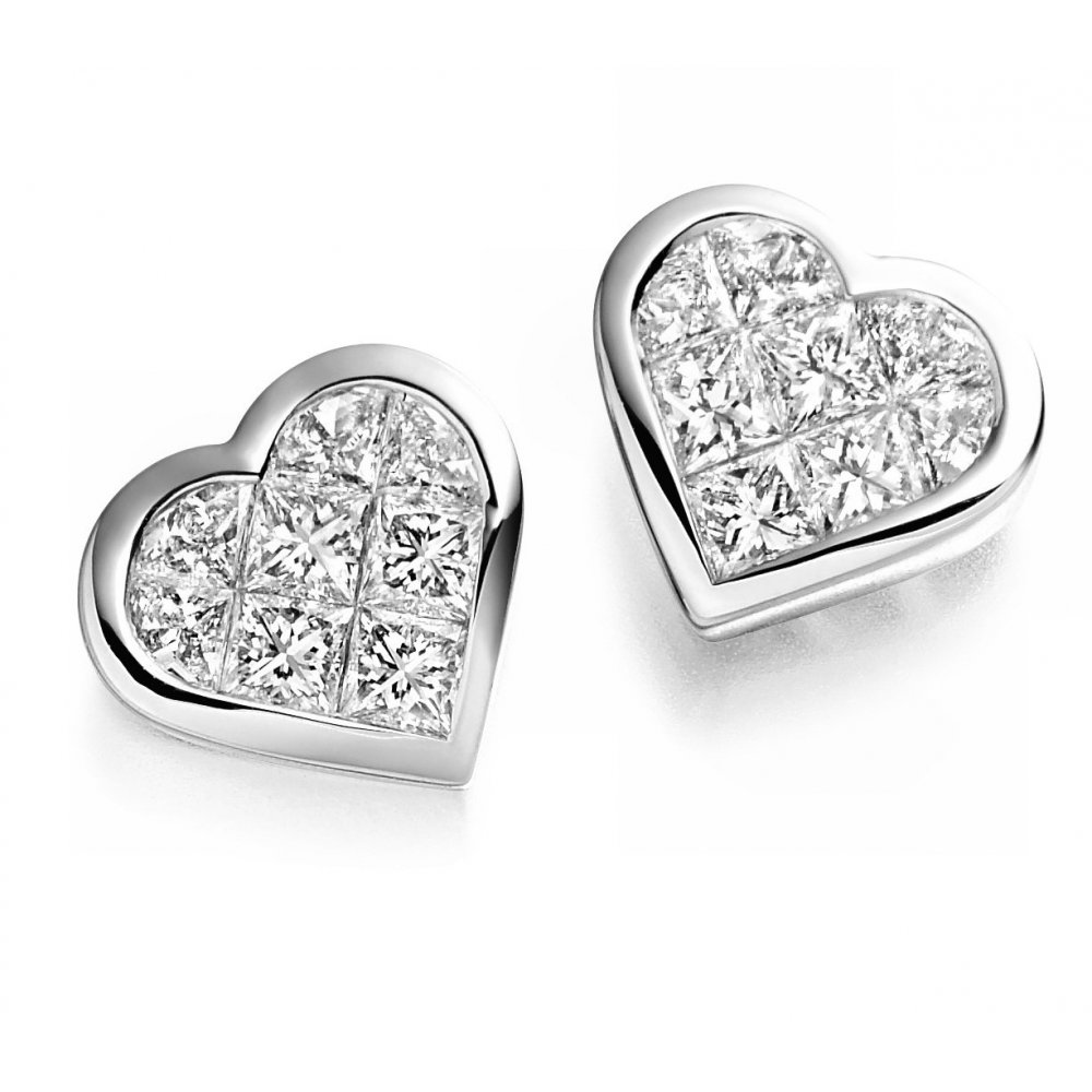 Raphael Collection 18ct White Gold Heart Shaped Diamond Stud Earrings