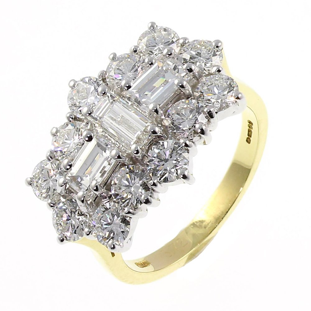 18ct yellow gold 3 80ct baguette cluster
