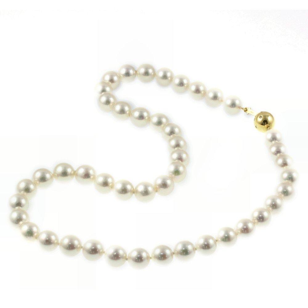 "Pearl Necklace Akoya: Matt Aminoff 18ct Yellow Gold 18"" Akoya Pearl Necklace"