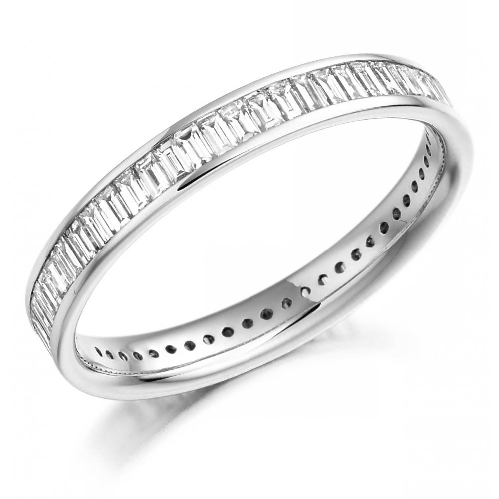 Platinum 1 05ct Baguette Cut Diamond Full Eternity Ring