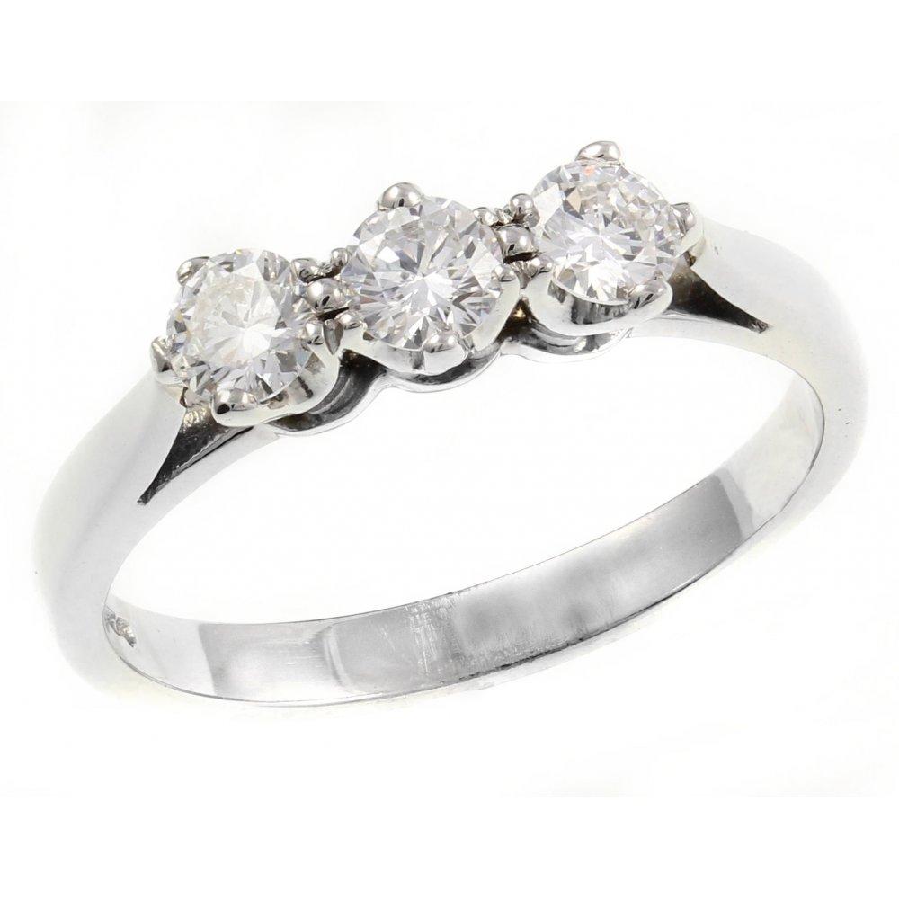 Stones Platinum: Platinum 0.51ct Round Brilliant Cut Diamond 3 Stone Ring