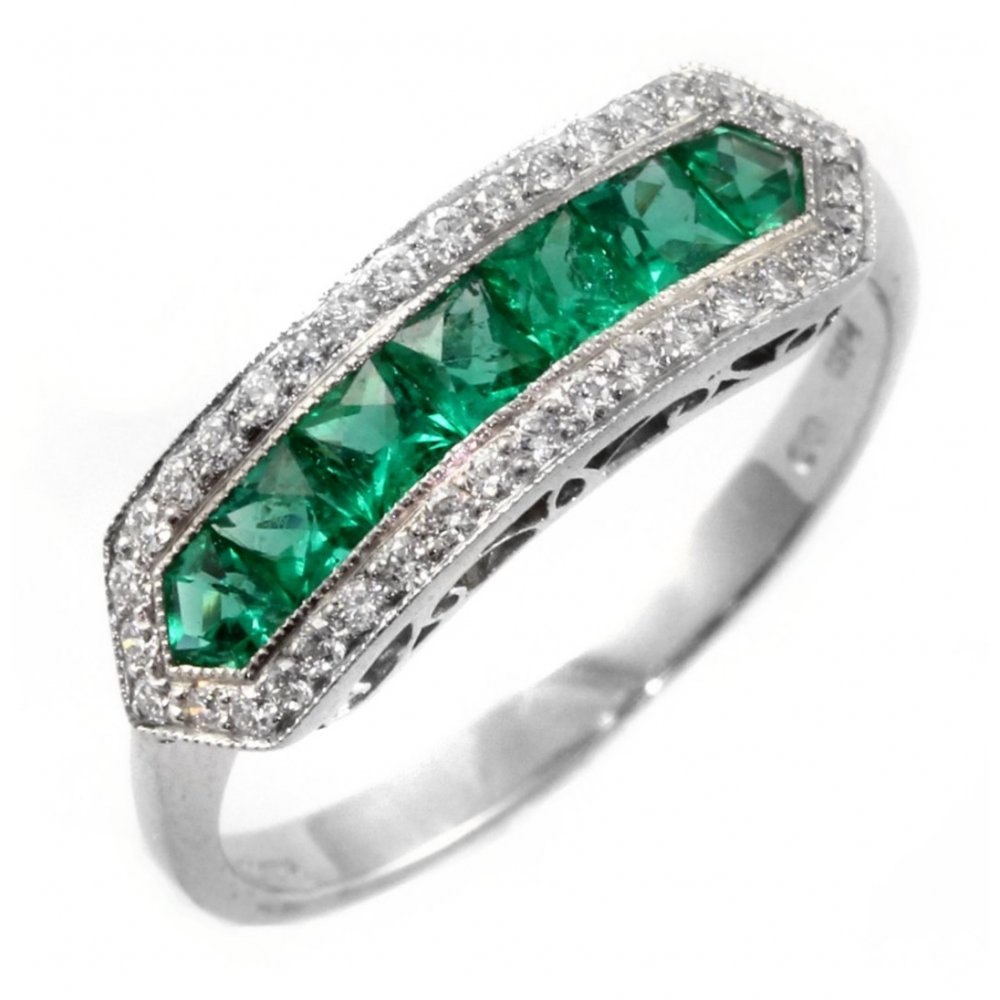 Platinum Emerald Amp Diamond Eternity Art Deco Style Ring