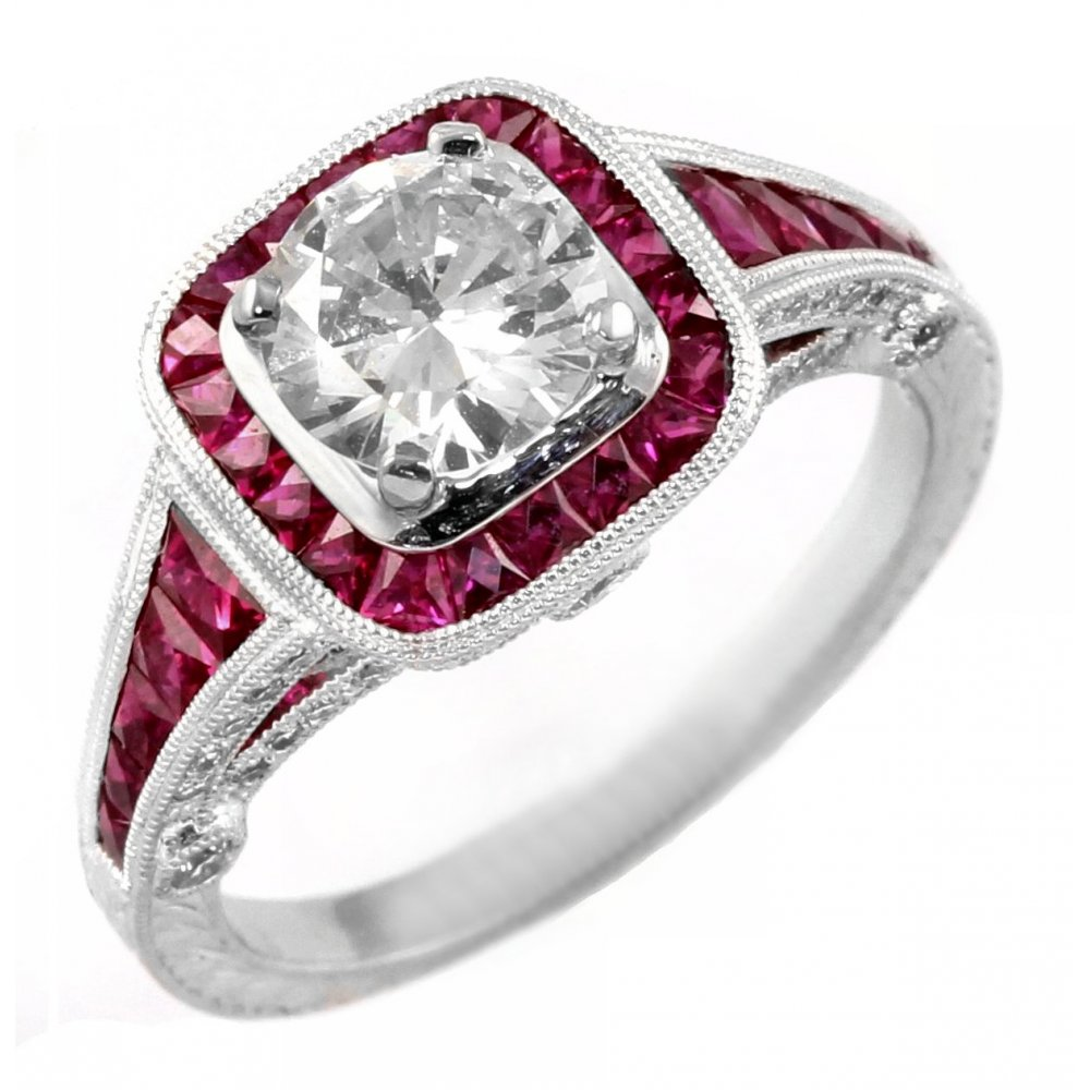 preowned platinum solitaire ruby