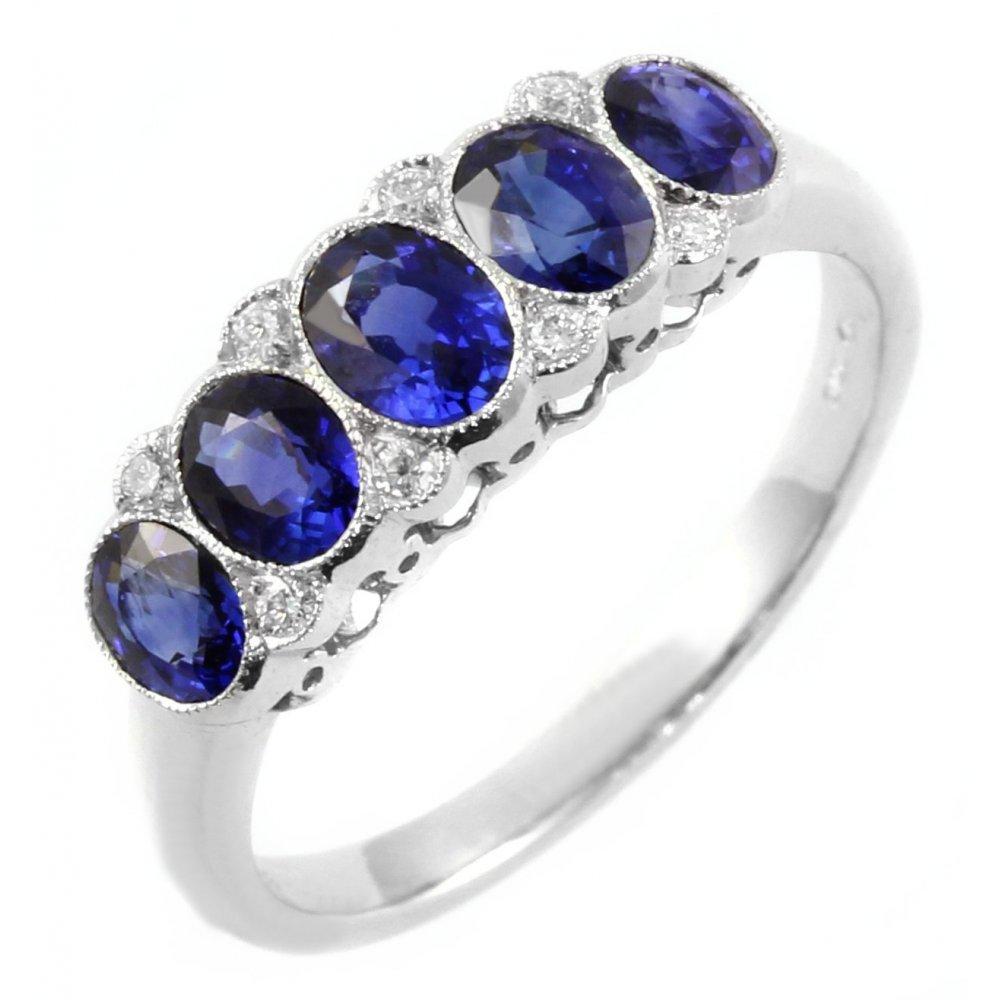 Sheldon Bloomfield Platinum oval sapphire 5 stone ring ...