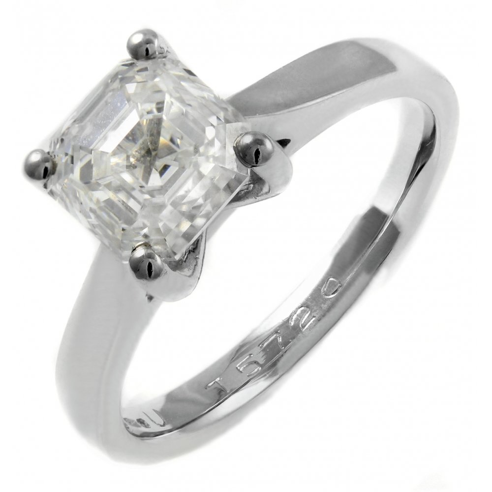 Platinum 2.02ct D VS2 EGL asscher cut diamond solitaire ...