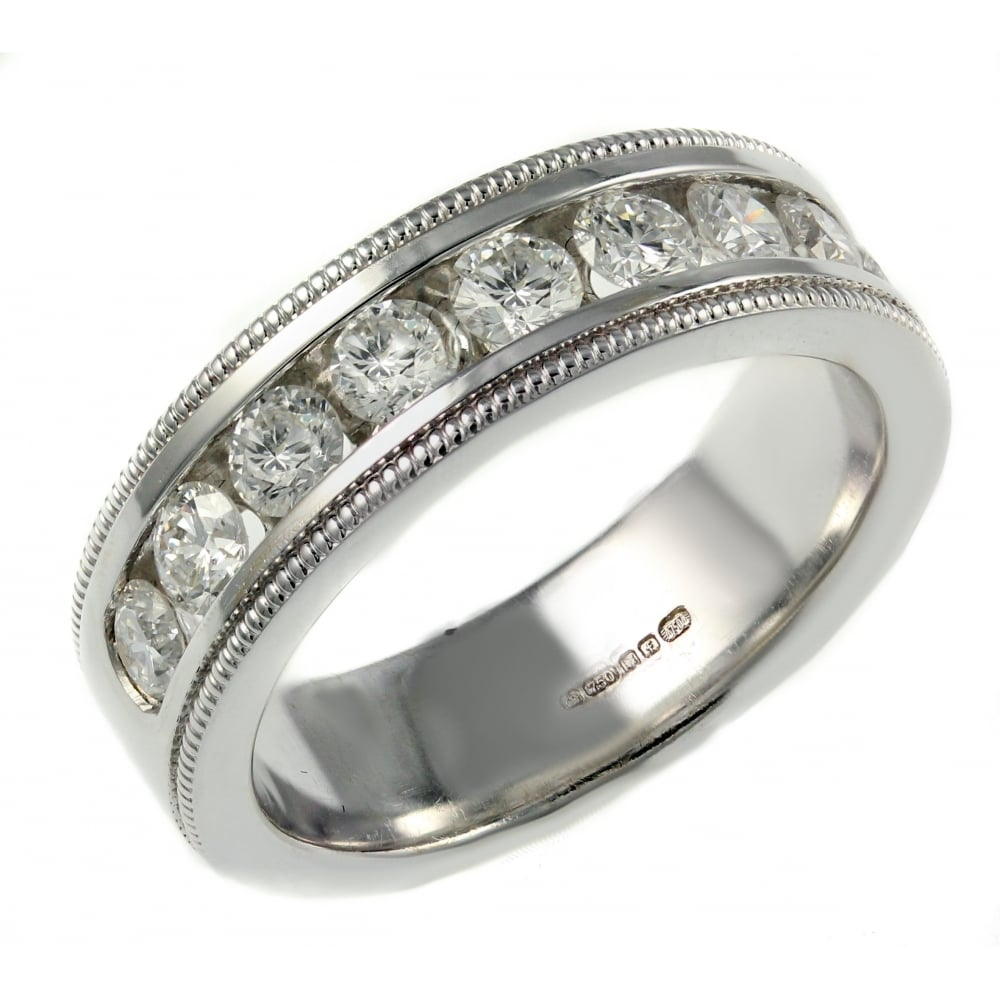 18ct white gold 1 00ct half eternity ring