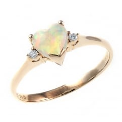 14ct rose gold 0.42ct natural opal & diamond ring.