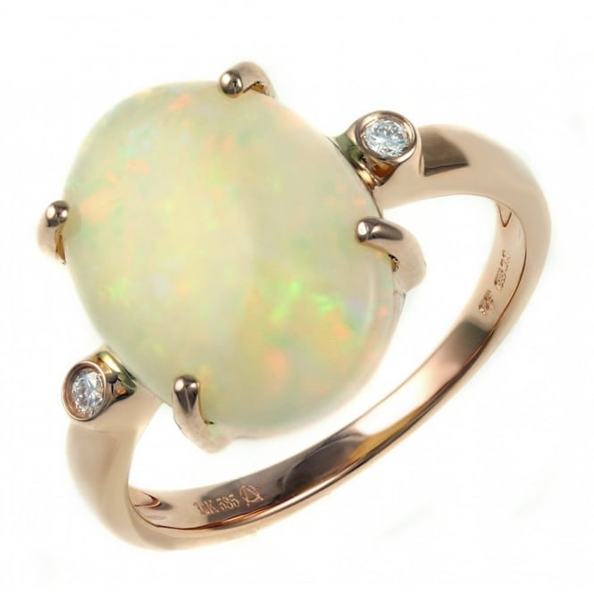 14ct rose gold 2.98ct oval natural opal & diamond ring.