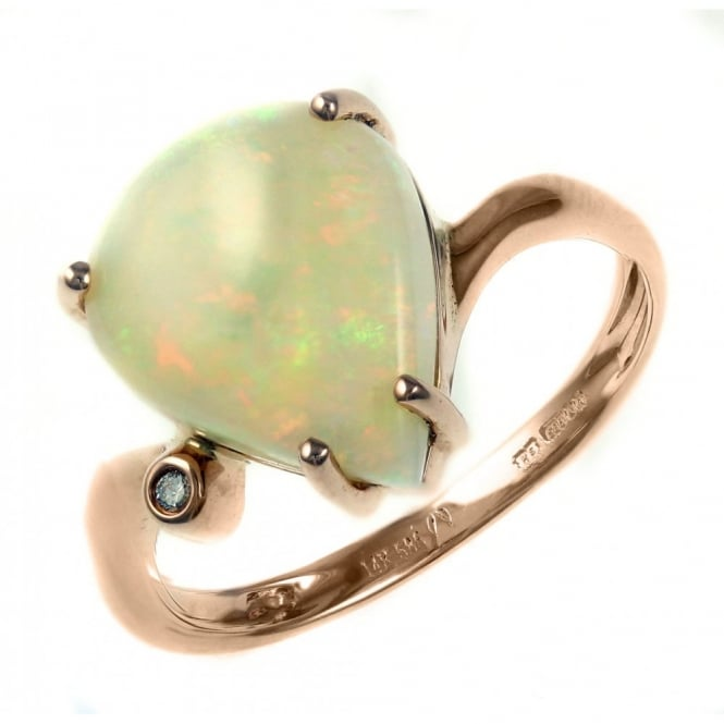 14ct rose gold 3.35ct pear natural opal & diamond ring.