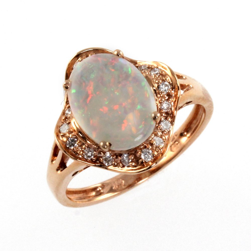 14ct rose gold opal diamond ring Jewellery from Mr Harold and