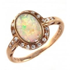 14ct rose gold oval natural opal & 0.16ct diamond ring.