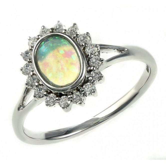 14ct white gold 0.36ct nautral opal & 0.25ct diamond ring.