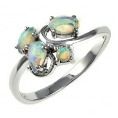 14ct white gold 0.41ct natrual opal cluster ring.