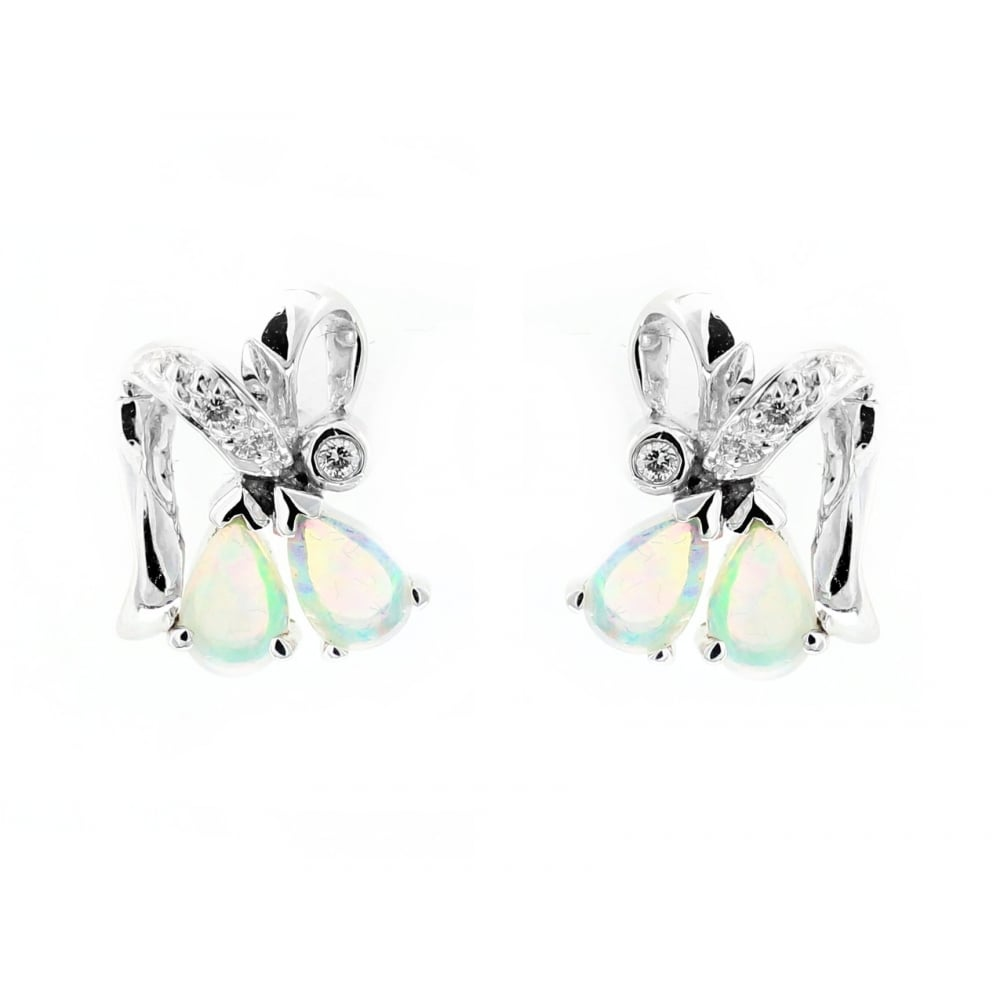 5f76c216c 14ct white gold 0.46ct natural opal 0.06ct diamond earrings - Jewellery  from Mr Harold and Son UK