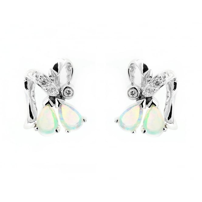 14ct white gold 0.46ct natural opal 0.06ct diamond earrings