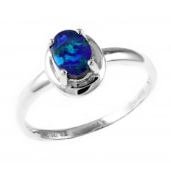 14ct white gold 0.51ct opal doublet ring.