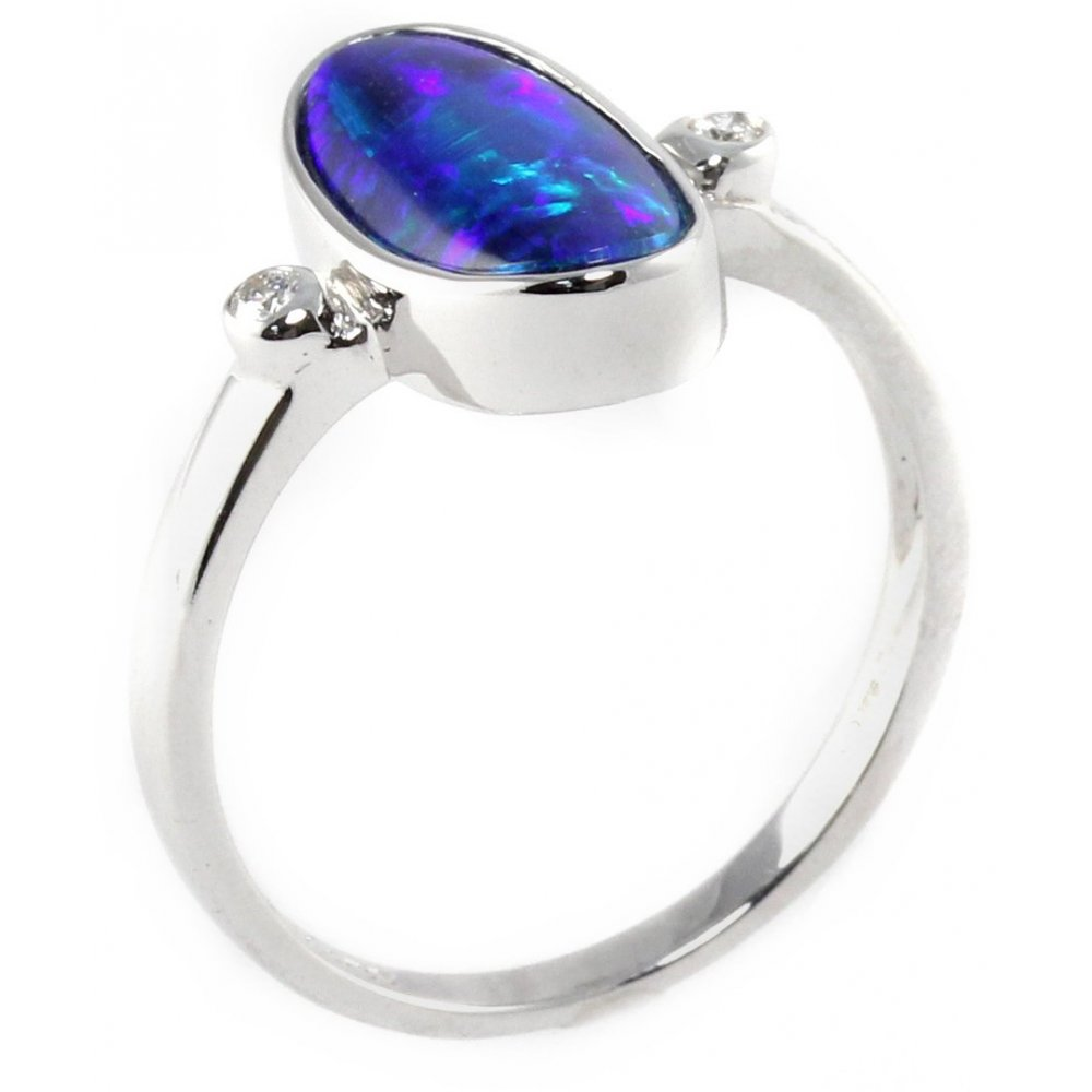 14ct white gold 1 23ct australian opal ring collections