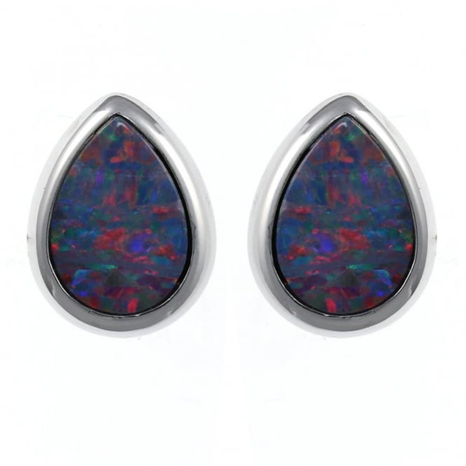 14ct white gold 2.20ct pear rubover opal stud earrings.
