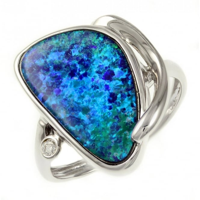 14ct white gold 3.60ct opal doublet & diamond ring.