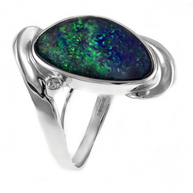 14ct white gold 6.43ct large pear opal doublet & diamond ring.