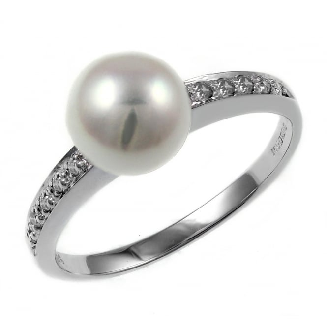 14ct white gold 7.5mm pearl & 0.08ct diamond ring.
