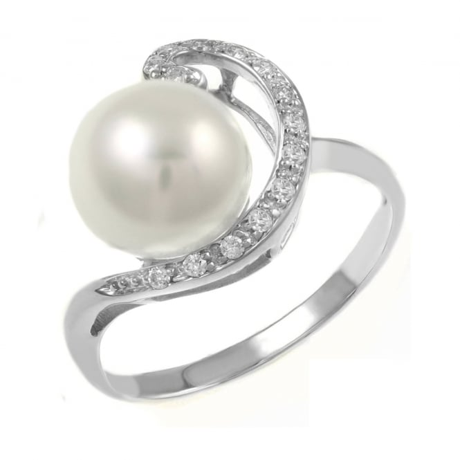 Matt Aminoff Pearls 14ct white gold Japanese Akoya pearl & diamond swirl ring.