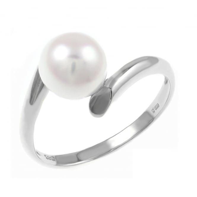 Matt Aminoff Pearls 14ct white gold Japanese Akoya pearl twist ring.