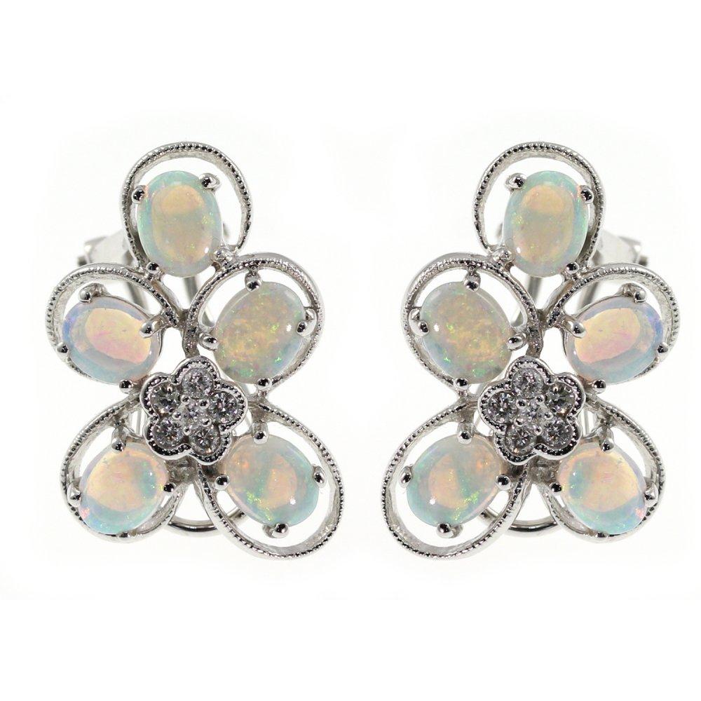 1fba1876e 14ct white gold opal & diamond flower cluster stud earrings - Jewellery  from Mr Harold and Son UK